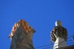 Sagrada Família. Fruites coronant pinacles del mur exterior de lanau