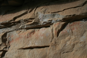 Text amb lletra gòtica a l'Abric de la Baridana II. Rojals, Montblanc, Muntanyes de Prades