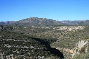 Vista del Montegordo des del Mas d'en Josep a la Valltorta