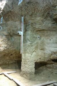 Columna amb els nivells d'ocupació a l'Abric Romaní, Capellades